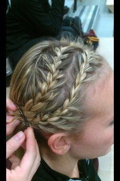 Double French braid into ponytail.