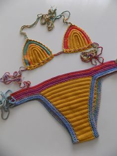 Yellow crochet bikinicrochet swimsuitcrochet by pompomhats on Etsy