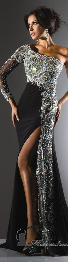 Tony Bowls Glam Black Gown