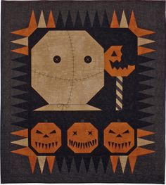 """The custom """"Trick R Treat"""" horror movie quilt Anna B. always wanted, created just for her, by Whimzie Quiltz and More #whimziequiltz"""