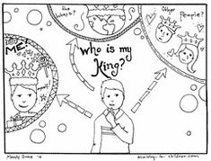 "These pictures are the start of a free Gospel coloring book we are publishing here on the website. It is built around the question, ""Who is my king?"" and was inspired by the excellent W…"