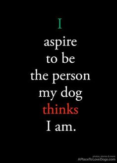 I aspire to be the person my dog thinks I am. dog quotes APlaceToLoveDogs.Com Photos , Stories and More