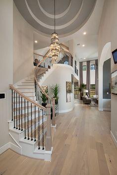 Luxury Homes Dream Houses, Dream House Interior, Dream Home Design, My Dream Home, Foyer Design, Staircase Design, Curved Staircase, Spiral Staircases, Westin Homes