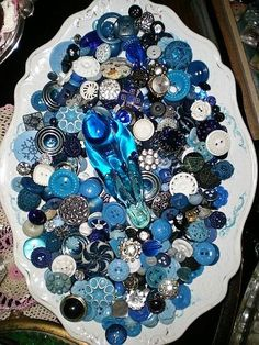 Blue and White Vintage Buttons
