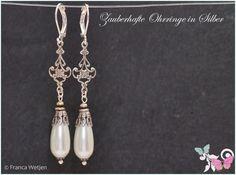 Brautschmuck - Vintage Ohrhänger Tropfen Silber weiß Perle lang - ein Designerstück von Zauberhafte-Ohrringe-in-Silber bei DaWanda