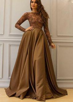 Long Sleeve Prom Dress, Brown Prom Dress, Saudi #prom #promdress #dress #eveningdress #evening #fashion #love #shopping #art #dress #women #mermaid #SEXY #SexyGirl #PromDresses