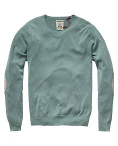 #Menswear #Sweatshirt #Knit - Summer crew neck pull with elbow patches - Pulls - Scotch & Soda Online Shop