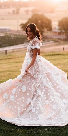 12 Sweet Ivory Wedding Dresses: Must Have For Brides ❤ ivory wedding dresses floral appliques with cap sleeves pallascouture ❤ #weddingdresses #weddingoutfit #bridaloutfit #weddinggown Ivory Wedding, Floral Wedding, Wedding Gowns, Colored Wedding Dresses, Bridal Dresses, Flower Girl Dresses, Applique Wedding Dress, Bridal Lace, Brides