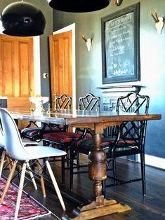 kitchen remode; chair; chalkboard; wood table; decor | Interior Designer: Deborah Peterson Milne