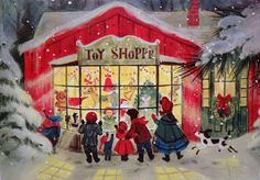 #2214 60s Kids at the Toy Store Window-Vintage Christmas Card-Greeting
