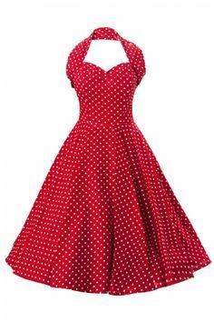 Vivien of Holloway - 1950s Retro halter Red White Spot dress cotton sateen