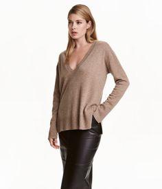 V-Pullover aus Kaschmir | Dunkelbeigemeliert | Damen | H&M DE