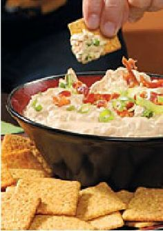 Smokin' Chipotle Bacon-Onion Dip — Bacon and sour cream give this appetizer recipe a smoky, tangy appeal. Serve with thin wheat snack crackers!