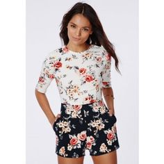Maggy Crepe Contrast Floral Playsuit - Playsuits - Missguided