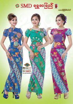 Blouse Batik, Batik Dress, Silk Dress, African Fashion, Kids Fashion, Fashion Outfits, Fashion Design, Myanmar Traditional Dress, Traditional Dresses