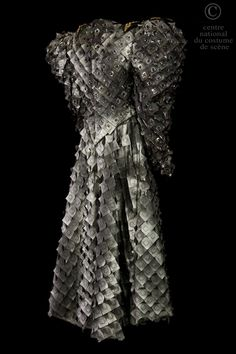 Atelier de couture de l'Opéra Garnier Paris, costume for Bertram in Meyerbeer Robert-le-diable opera, leather with black plastic, faux leather, glass, re-used ornaments from Aida opera production