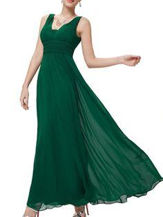 Stylish Pleated V Neck With Zips Maxi-dress Maxi Dresses from Fashionmia.com