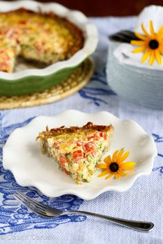 Healthy Potato-Crusted Vegetarian Quiche Recipe with Zucchini, Tomatoes & Feta | cookincanuck.com #MothersDay #breakfast