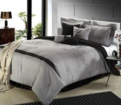 Chic Home Embroidered Vines 8-Piece Comforter Bedding Set, Grey, Queen by Chic Home, http://www.amazon.com/dp/B008MRS6HW/ref=cm_sw_r_pi_dp_wWW2rb1XBNT1A