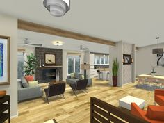 3D floor plan for a great room with large living room area and view to outdoors.   View the entire project: http://www.roomsketcher.com/gallery/project/?pid=1397920  #interiordesign #remodel #remodeling