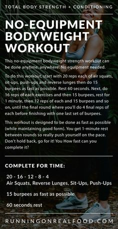 Bodyweight Strength Workout Travelling or need a quick workout you can do at home? Try this quick by tough bodyweight workout with air squats, burpees, lunges, sit ups and push ups. How fast can you complete this?Travelling or need a quick workout you can Entraînement Boot Camp, Wods Crossfit, Workout Bodyweight, Tabata, Workout Plans, Sprint Workout, Crossfit Workouts At Home, Amrap Workout, Athlete Workout