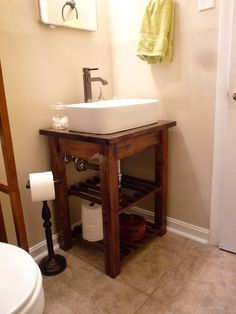 DIY step by step bathroom vanity, thinking would look nice for my half bath on the main floor....hmmmm