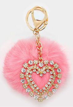 Crystal Heart & Rabbit Fur Pom Pom Key Chain/Bag Charm