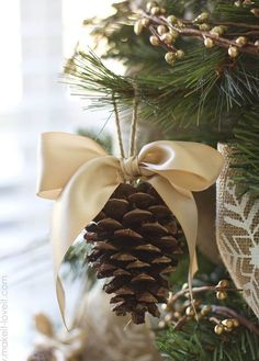 Natural Pinecone Hung With A Bow