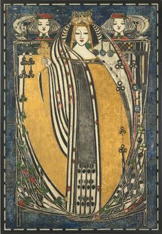 One of Four Queens (Queen of Clubs) Margaret Macdonald Mackintosh Scottish , 1865 - 1933 wood, paint, gesso