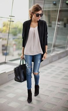 distressed denim, chiffon blouse, cardigan, black booties