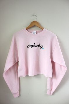 Crybaby Pastel Pink Cropped Graphic Crewneck Sweatshirt