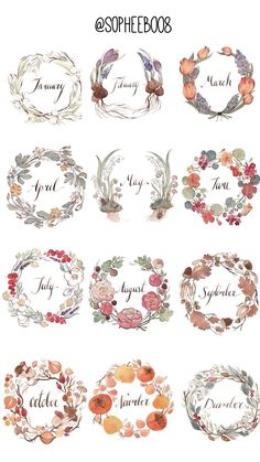 "- -Calendar - - Learn how to draw a wreath ""All Months - for bullet journals, diaries, planners and more"" Stickers by vasylissa Bullet Journal Month, Bullet Journal Ideas Pages, Bullet Journal Inspo, Book Journal, Bullet Journals, Journal Stickers, Printable Planner Stickers, Buch Design, Decorate Notebook"