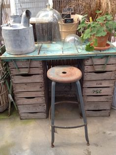 make due with what you have ... end up with a great potting table ~ love the stool