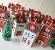 Advent Calendar Printable Christmas Village von LittleLlamaShoppe