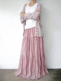 NO.5 Pink Cotton Hippie Gypsy Boho Tiered Long by JoozieCotton