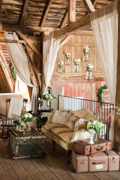 Wedding Venue Ideas This rustic barn wedding nails county decor! We're loving how the decor included Mason jar flower holders and repurposed suitcases. - Shouldn't every great love story begin with a barn? Barn Wedding Decorations, Barn Wedding Venue, Rustic Wedding, Barn Weddings, Barn Wedding Flowers, Retro Weddings, Cowboy Weddings, Rustic Flowers, Wedding Ideas
