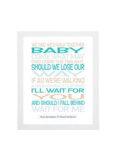 Bruce Springsteen lyricssong lyrics print by PinkMilkshakeDesigns, £10.95