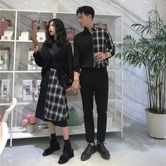 Porstina Couple Matching Plaid Panel Shirt / Plaid Panel A-Line Skirt Clothing > Dresses & Skirts Porstina Skirt Matching Couple Outfits, Matching Couples, Cute Couples, Fashion Couple, Girl Fashion, Fashion Outfits, Pretty Outfits, Cute Outfits, Korean Couple