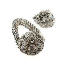 Vintage Czech Filigree Bracelet, Dress Clip Set, Silver Tone, Brass, Chains, Box Clasp, Victorian Revival by RetroRageVictoria on Etsy
