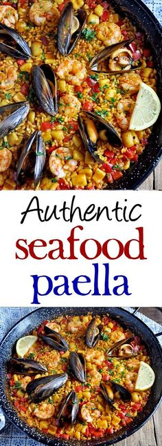 Authentic Spanish Seafood Paella Recipe - Spain on a Fork - - This Authentic Spanish Seafood Paella Recipe is loaded with flavor and easier to make than you think. Surprise yourself and your guest with this seafood paella recipe from Valencia, Spain. Authentic Spanish Paella Recipe, Spanish Seafood Paella, Seafood Menu, Seafood Salad, Seafood Dinner, Seafood Platter, Mediterranean Seafood Recipe, Mexican Seafood, Antipasto Platter