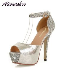 Plus Size 32-46 Women High Heel Sandals Metal Buckle Fashion Shoes for Women 2019 New Summer Casual Party Sandals,Gold,10.5