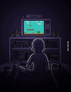 "My childhood with ""Nintendo"" and ""Super Mario Brothers"" - Meine Kindheit mit ""Nintendo"" und ""Super Mario Brothers"". Otaku Anime, Geek Culture, Gi Joe, Mundo Dos Games, Nostalgia, Video Vintage, Garage Art, Video Game Art, Game Gif"