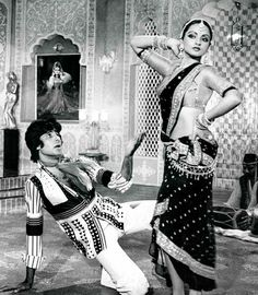 """simplicitylovebeauty: """"Amitabh Bachchan and Rekha in a still from Suhaag (1979). """""""