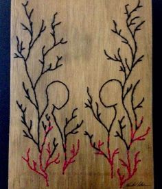 embroidery art by Marlan Cotrim. desenho com costura. artista Marlan Cotrim. bordado. madeira bordada. wood embroidery.