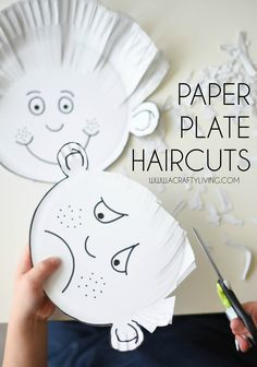 Paper plate haircuts for toddlers and preschoolers!acraftyliving … - Crafts For Toddlers Toddler Preschool, Learning Activities, Preschool Activities, Kids Learning, Time Activities, Toddler Fine Motor Activities, Emotions Preschool, Home School Preschool, Preschool Writing