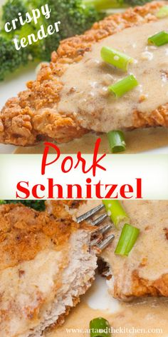 Easy recipe for Crispy Pork Schnitzel that comes together in under 20 minutes. Pork cutlets that have a crisp coating, tender and juicy on the inside. Pork Cutlet Recipes, Schnitzel Recipes, Easy Pork Chop Recipes, Pork Recipes, Fish Recipes, Dog Food Recipes, Cooking Recipes, Pork Meals, Veal Cutlet