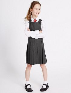 Girls' Pinafore with Permanent Pleats School Girl Dress, School Dresses, Girls School, Girls Fashion Clothes, Girl Fashion, Kids Clothing, School Pinafore, School Uniform Outfits, School Uniforms