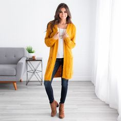 Sophisticated and comfortable, our Ellie Fuzzy Cardigan is the best of both worlds! Mustard Cardigan Outfit, Yellow Cardigan Outfits, Casual Skirt Outfits, Pretty Outfits, Winter Fashion Outfits, Spring Outfits, Autumn Fashion, Cardigan Sweaters For Women, Cardigans For Women