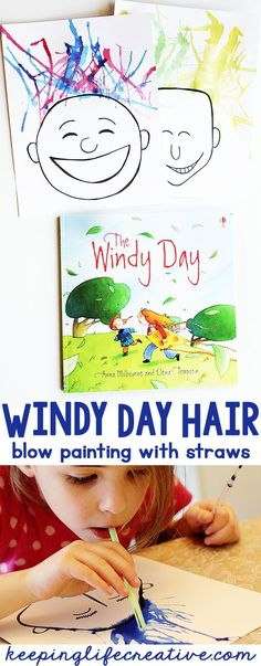 An easy art project for kids to make this spring- a Windy Day Hair with straws! A great craft to accompany the classic kids book Windy Day! #windydaycrafts #aprilcrafts #booksandcrafts
