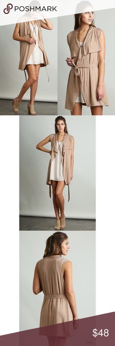 """SALE Taupe Sleeveless Vest with Wraparound Tie New without tags // taupe colored sleeveless vest // perfect for layering // model is 5'10"""" wearing a size small // s(0-4) m(6-8) l(10-14) Tops"""